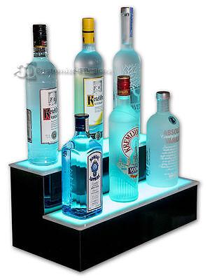 20 2 Step Tier Led Lighted Shelves Illuminated Liquor Bottle Display Free Ship