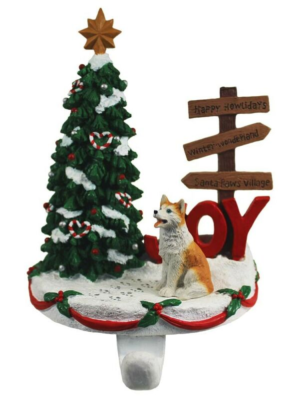 Husky Stocking Holder Hanger Red Blue Eye