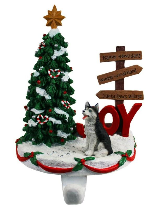 Husky Stocking Holder Hanger Black Blue Eye