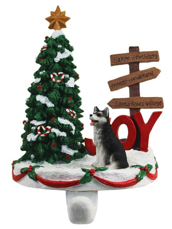 Husky Stocking Holder Hanger Black Brown Eye