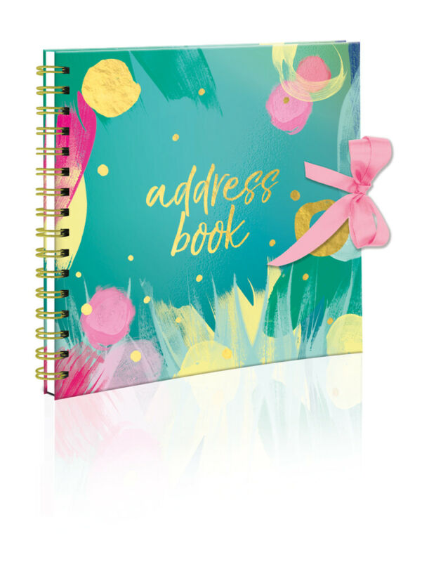 Brushstrokes Design Spiral Bound Hardcover Telephone Address Book Ribbon Tie