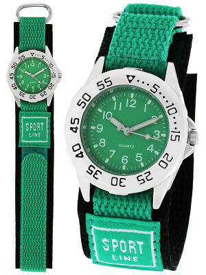 Jugenduhr Kinderuhr Apfelgrün Klettarmband Uhren Jungen Mädchen grün Sport Line