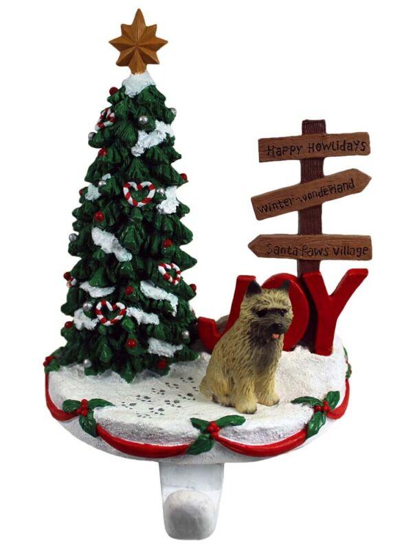 Cairn Terrier Stocking Holder Hanger Red