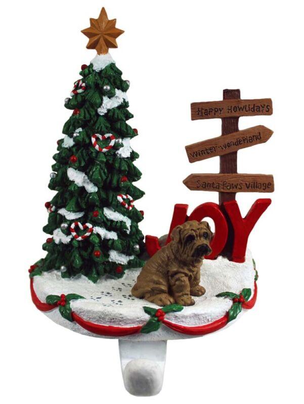 Shar Pei Stocking Holder Hanger Brown