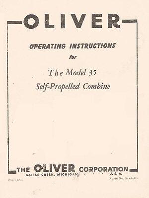 Oliver Model 35 Self Propelled Combine Operators Manual