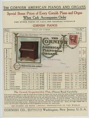 Mr Fancy Cancel 2 COLOR ILLUSTRATED AD COVER THE CORNISH ORGANS & PIANOS PRICES