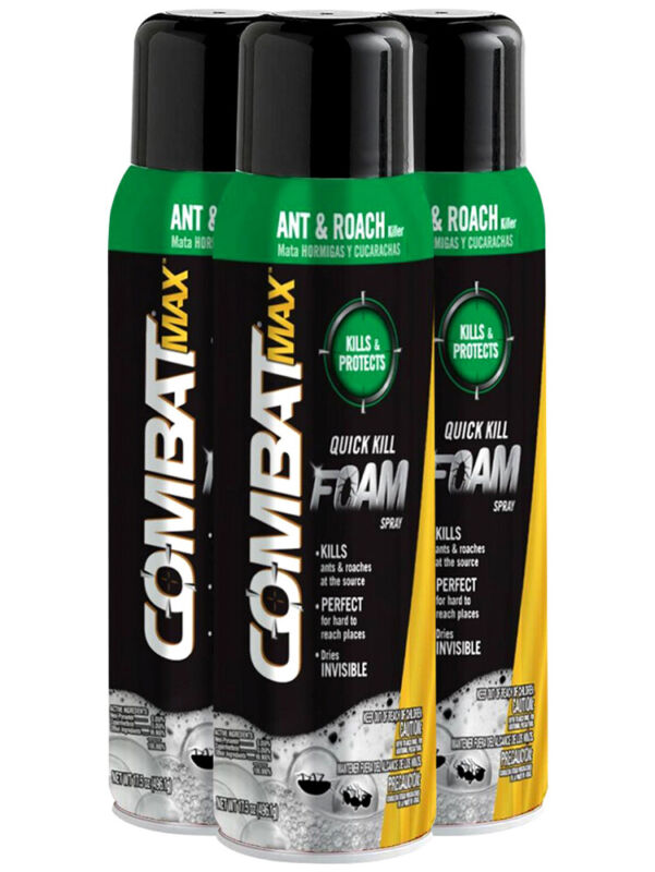 3 Pk Combat Max Ant & Roach Killer Quick Kill Foam Dries Invisible Spray 17.5 oz