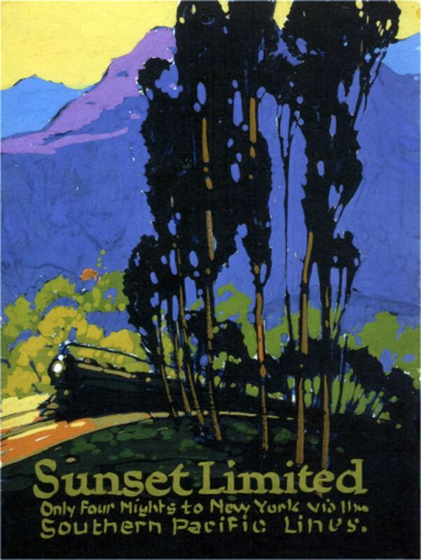 """Sunset Limited-1924- Southern Pacific Lines -  24x36"""" Vintage Railroad Art"""