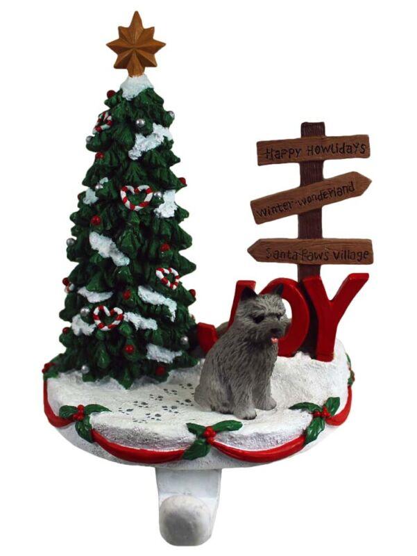 Cairn Terrier Stocking Holder Hanger Gray