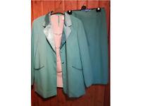 Mother of Bride Wedding Smart Skirt Suit Jacket Blouse Teal Turquoise Aqua Blue Large L XL 18 20