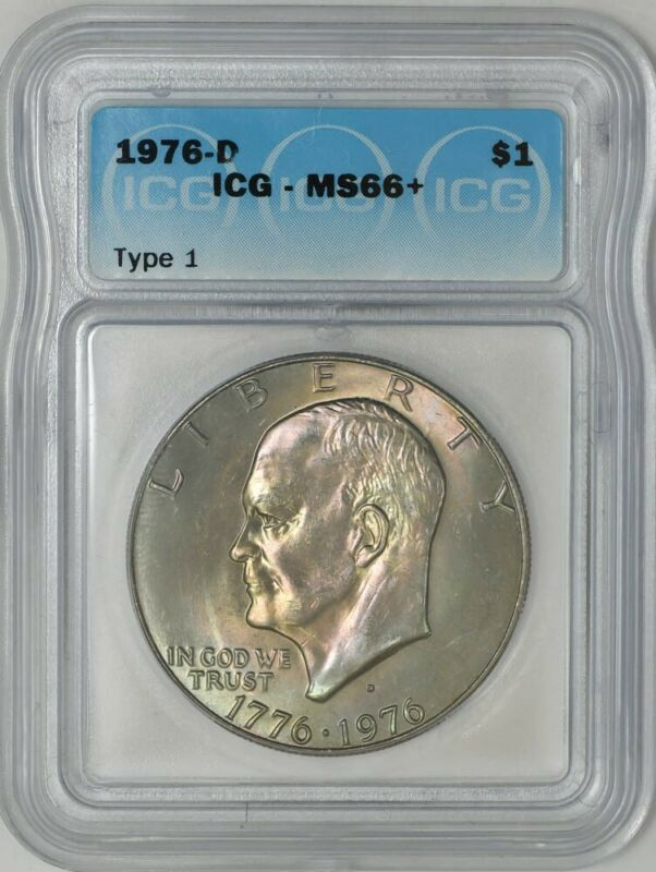 1976-D Type 1 Eisenhower Dollar $ Ike MS66+ ICG 938903-1