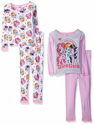My Little Pony Girls Besties Ponies 4-Piece Cotton Pajama Set Size 4 6 8 10 $48 (My Little Pony Pjs)