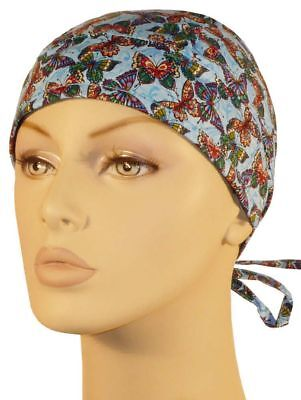Butterflies on Blue Surgical Sweatband Scrub Skull Cap Medical Nurse Doctor (Doctor On Scrubs)