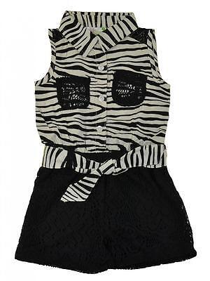 Pinkhouse Toddler/Little Girls Black Zebra Print Laced Romper 4T 4 5/6 - Zebra Girls