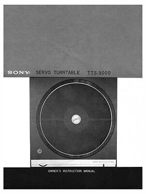 Sony TTS-3000 Turntable Owners Manual