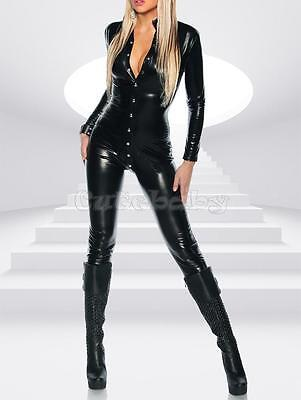 Women Sexy Faux Leather Catwomen Bodysuit Catsuit Halloween Fancy Dress Costume - Catwomen Costume