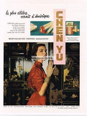 1950 Chen Yu Cosmetics Nail Polish Mysterious Woman French Language Vintage Ad