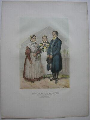 Deutsche Kolonisten Umgebung St. Petersburg Kostüme Trachten Lithografie 1850