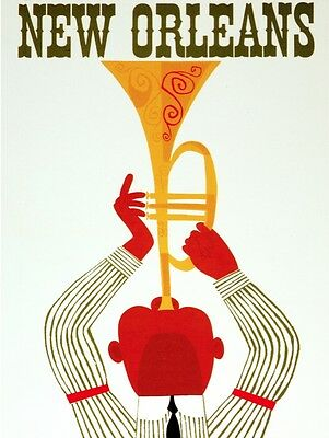 New Orleans Decor (8186.New Orleans.man playing giant trumpet..POSTER.art wall)