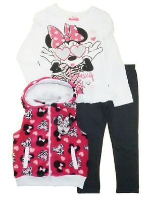 Minnie Mouse Girls Fluffy Fuchsia Vest 3pc Legging Set Size 2T 3T 4T](Fluffy Girls)