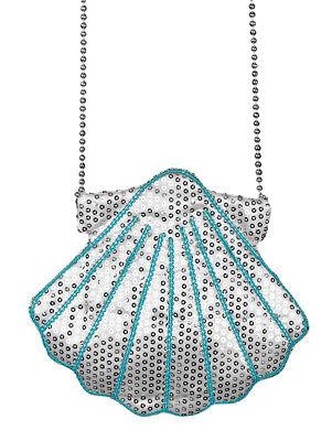 Silber Fisch Kostüm (Muschel Handtasche zum Meerjungfrau Nixe Fisch Kostüm Pailletten Accessoire)