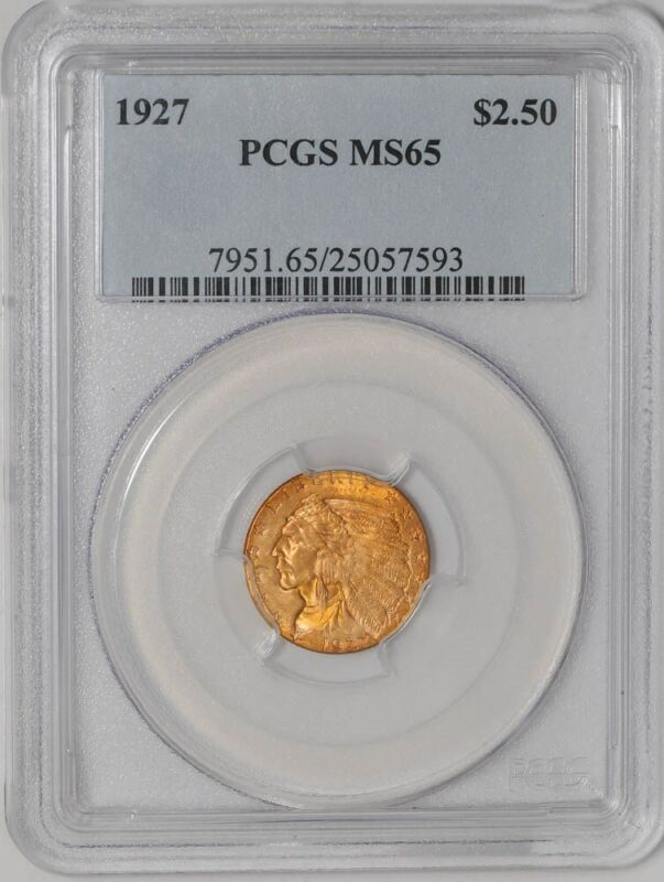 1927 $2 1/2 Gold Indian $2.5 MS65 PCGS  934717-40