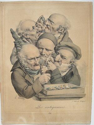 Les antiquaires Die Antikengelehrten Orig Farblithografie Louis Boilly 1830