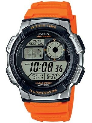 Casio Collection Herrenuhr Resin Uhr Digitaluhr orange silbern AE-1000W-4BVEF Casio Herren Orange Uhren