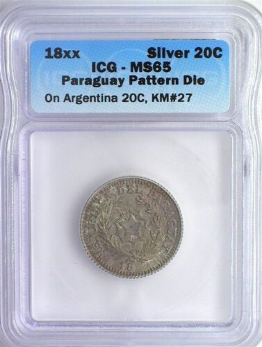 RARE PARAGUAY 18xx 20 CENTS ON ARGENTINA 20C -PATTERN DIE- ICG MS65