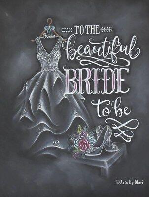 Handmade greeting weddingbridal showercard chalk drawing nextday free shipping
