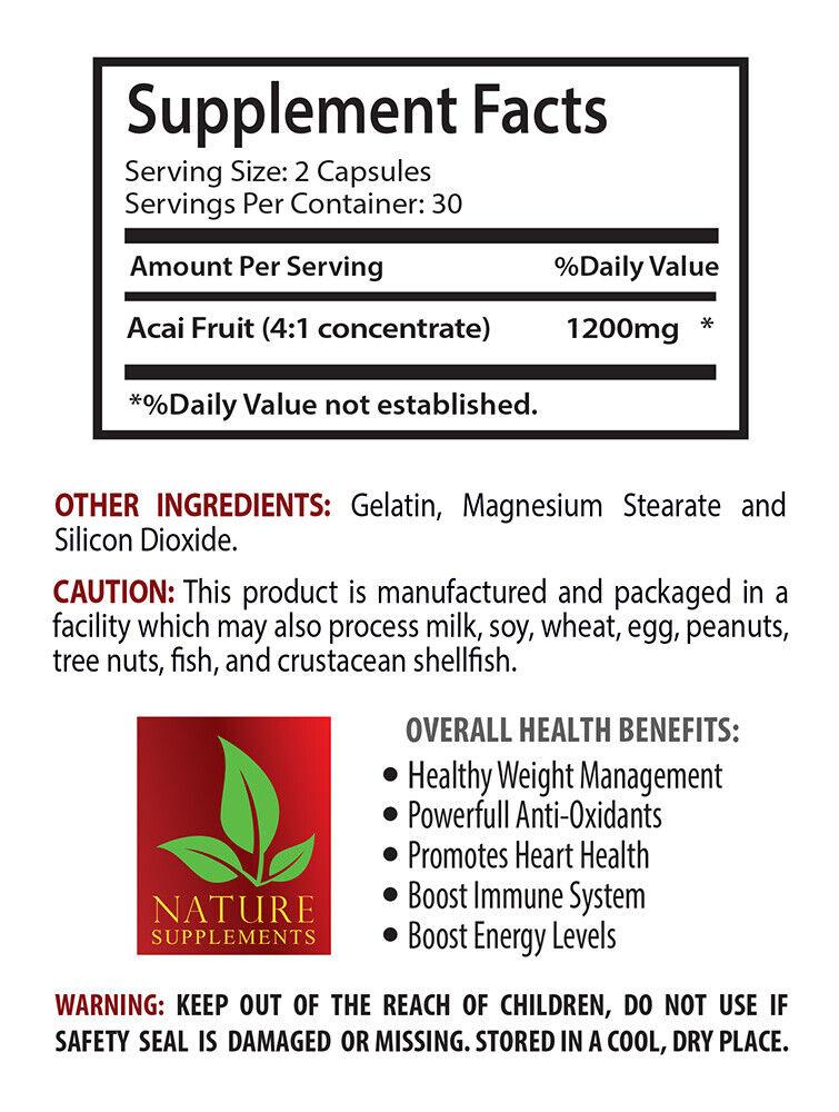 immune support herbal - ACAI BERRY 1200 - immune system health supplement 3BOTTL 1