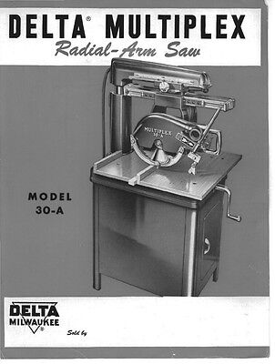 Delta Rockwell Model 30-A Multiplex Radial Arm Saw Instructions
