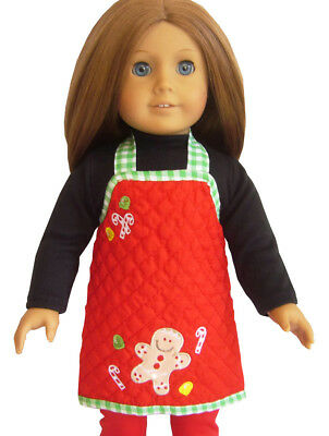 "For 18"" American Girl Dolls Red  Green Gingham Gingerbread M"