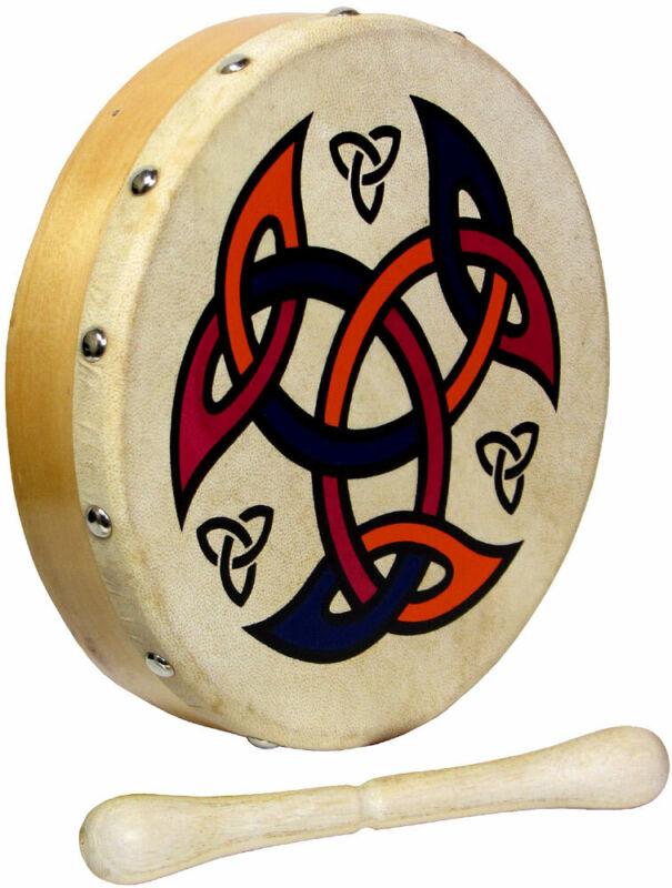 MINI 8inch CELTIC SHIELD BODHRAN! Ornamental traditional Irish Drum! With beater