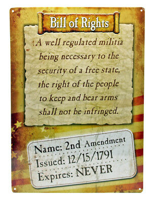 Novelty Rivers Edge Products Bill Of Rights Never Expire Tin Sign - Novelty Products