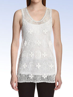 Chloé Women's CROCHET LACE TANK Top - Milk White - Size 38 FR / Medium