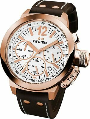 NEW TW Steel Men's CEO Canteen Chronograph Leather Band Watch - CE1019