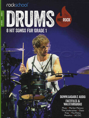 Rockschool Drums Hot Rock Grade 1 Book with Audio Download Exam Tests Songs