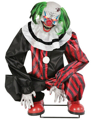 ANIMATED CROUCHING RED CLOWN Halloween Prop IN STOCK - Animated Clown
