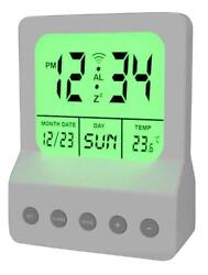 Meridian Electric 10260 Digital Alarm Clock with LED Night Light, White