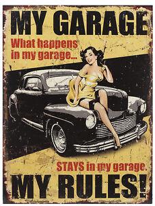 Retro Blechschild My Garage My Rules Nostalgie Metallschild Vintage Wanddeko