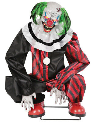 Pre-Order New For 2019 Lifesize Animated CROUCHING RED CLOWN Halloween - Lifesize Animated Halloween Props