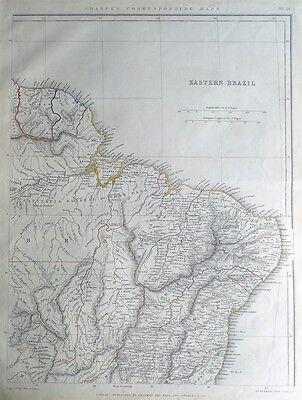 SOUTH AMERICA, EASTERN BRAZIL, SURINAME, FRENCH GUIANA Sharpe antique map 1849