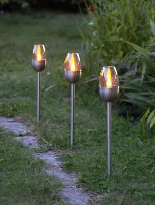 3 Stück LED Solar Gartenfackeln 38cm Gartenstecker Edelstahl LEDs amber