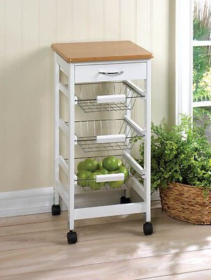 KITCHEN SIDE TABLE TROLLEY CART BAMBOO TOP SLIDE OUT STORAGE BASKET NEW~10016088