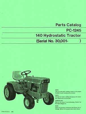 John Deere Model 140 Hydrostatic Tractor After Sn 30001 Parts Manual Catalog Jd