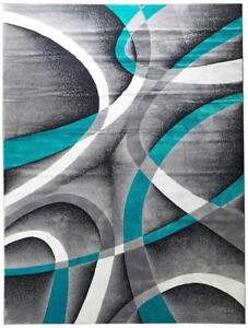 New  Persian-Rugs  Turquoise 8x11 White Swirls 7'10 x 10'6 Modern Abstract Rug Condition: New, Area Rug