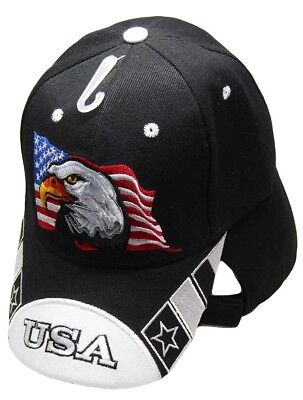 White Bald Cap (Waving USA American Bald Eagle White Bill Black Embroidered Cap Hat CAP679)