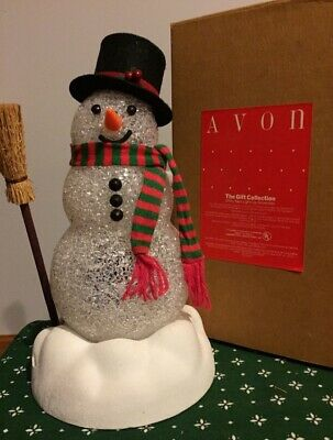 New Vintage Avon Chilly Sam Light-Up Snowman In Box