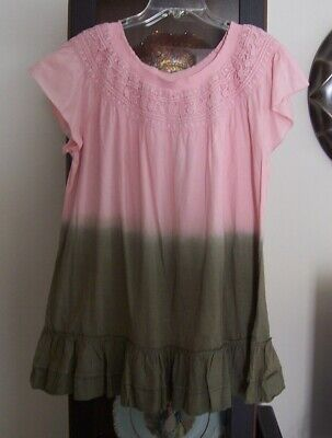 NEW PINK OLIVE DIP TIE DYED EMBROIDERED LACE RUFFLE TUNIC TOP SZ L INDIGO THREAD